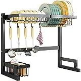 Plasaig Étendoir Over Sink pour Organiser la Cuisine avec Vaisselle, Panier à Bouteilles, Couteau et Support pour Planche à d