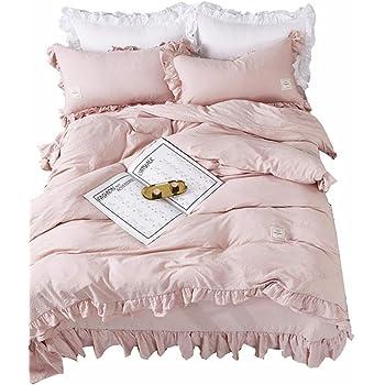 Romantische Bettwäsche Mit Rüschen 100 Baumwolle Weiß 135x200