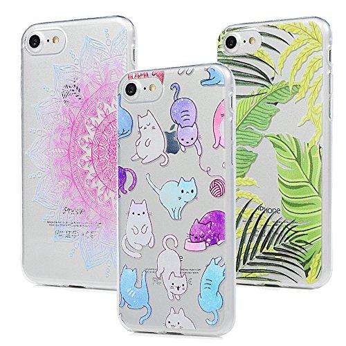 3x Cover iPhone 7, Custodia Morbida Silicone TPU Flessibile Gomma - MAXFE.CO Case Ultra Sottile Cassa Protettiva per iPhone 7 - Totem Foglio Gatto Totem Foglio Gatto
