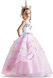 TTYAOVO Mädchen Einhorn Phantasie Prinzessin Kleid Kinder Blume Pageant Party Kleid Ärmellose Rüschen Kleider