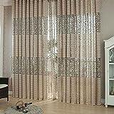 Masterein Neuer Eleganter Blatt Tulle Türfenstervorhang Drapieren Panel-Sheer-Schal Volants #7