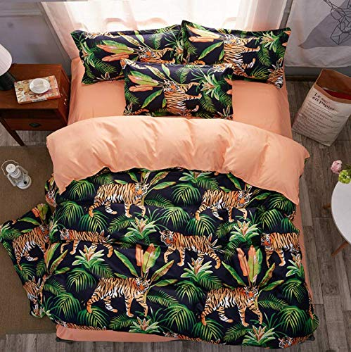 SHJIA Plaid Mode Bettwäsche-Sets Weiß Bettbezug Set Bettlaken Kissenbezüge Heimtextilien Erwachsene Bettwäsche Grün 200X230 cm
