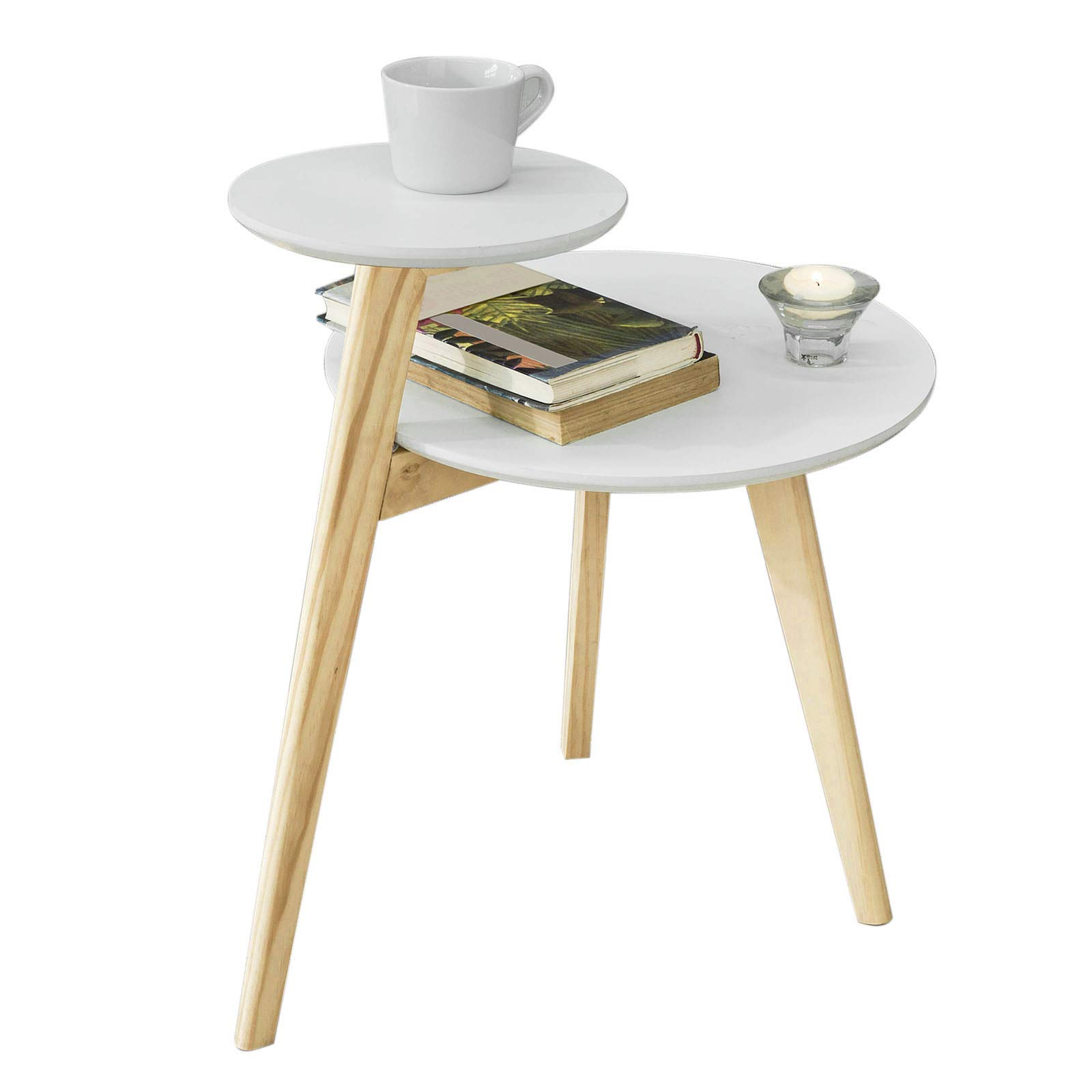 Sobuy Fbt53 Wn Table Basse Design Table Dappoint Ronde Table Café