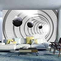 murando - Fototapete Abstrakt 150x105 cm - Vlies Tapete - Moderne Wanddeko - Design Tapete - Wandtapete - Wand Dekoration - Tunnel Kugel 3D schwarz-weiß a-C-0001-a-a