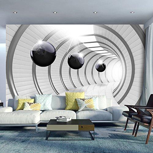 Murando papier peint intissé 350x256 cm papier peint trompe l oeil tableaux muraux déco xxl abstraction tunnel sphere 3d blanc noir a c 0001