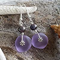 """Handmade in Hawaii,""""Magical Color Changing"""" purple sea glass earrings,fresh water purple pearl, sterling silver hooks, February Birthstone, Mother's Day Gift, FREE gift wrap"""