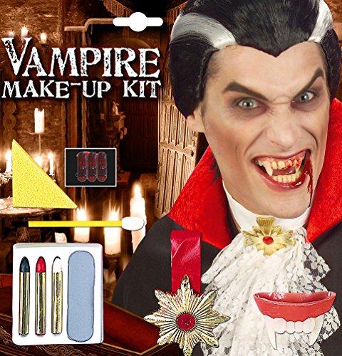 Kostüm Gold Zahn Zubehör (Karneval Klamotten Vampir Halloween Schmink Set mit Vampir-Zähne und)