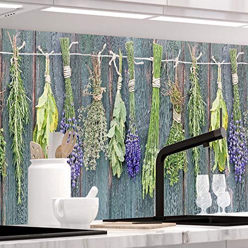 Küchenrückwand selbstklebend - MEDITERRANE KRÄUTER - 1.5mm, Hartkunststoff, alle Untergründe, Spritzschutz, PREMIUM 60 x 280cm - Kräuter-putz