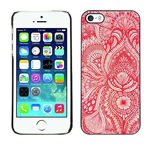 TopCaseStore / caoutchouc Hard Case Housse de protection la Peau - Wallpaper Red White Floral Blooms Flower - Apple iPhone 5 / 5S
