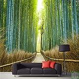 LANYU Tapete Benutzerdefinierte Fototapete 3D Tapete Bambus Vorhang Straße Sofa Hintergrund Tuch Vliestapete