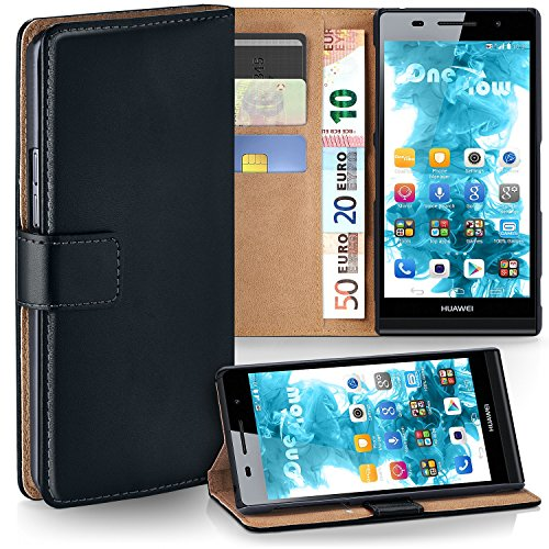 moex Huawei P6 | Hülle Schwarz mit Karten-Fach 360° Book Klapp-Hülle Handytasche Kunst-Leder Handyhülle für Huawei Ascend P6 Case Flip Cover Schutzhülle Tasche