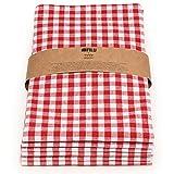 FILU Geschirrtücher 6er Pack Halbleinen (Leinen/Baumwolle) rot/weiß kariert 45 x 70 cm (Farbe und Design wählbar); hochwertig durchgefärbte Geschirrhandtücher im skandinavischen Landhausstil