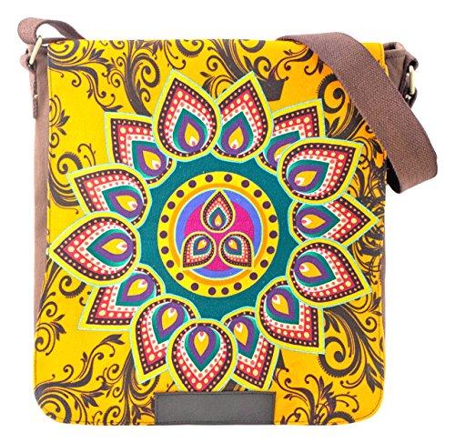 Sunsa Damen Messengertasche Umhängetasche Canvas Tasche beige 29x36x9 cm braun