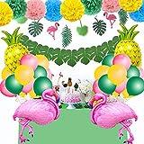 SPECOOL Hawaiian Tropical Dekoration, 52PC Beach Party Supplies mit bunten Ananas Flamingo Ballons Palm Simulation verlässt Banner Papier Pom Poms für Luau Party Dschungel Sommer Tischdekorationen - 4