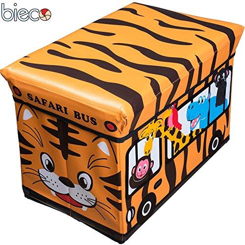 Preisvergleich Produktbild Kinder Staubox und Sitzbank Safari 49 x 31 x 33 cm Spielzeugbox gepolstert: Spielzeugkiste Sitzbank Spielzeugboxen Sitztruhe Spielzeugtruhe
