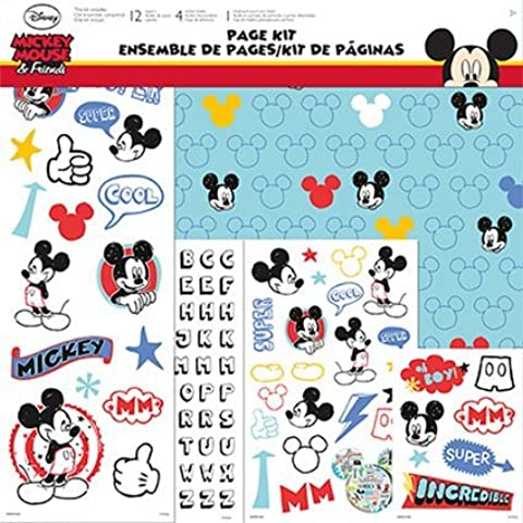 Disney Mickey Mouse 17-Piece Scrapbook Page Kit by Trends International by Unknown - Disney Scrapbook Kit