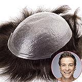 Lordhair Transparent Super Dünne Haut Menschliche Haarersatz Farbe # 1 Toupet Herren Männer Perücke