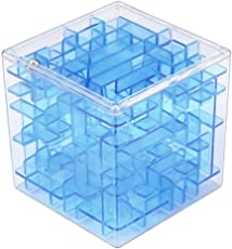Forthery Maze Cube 3D Magic Cube Puzzle Box Sequential Puzzles Fun Fidget Game As Christmas Gift Birthday Gift 6.5*6.5*6.5cm Blue