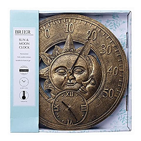 Briers Sun & Moon Outdoor Garden Clock with Thermometer