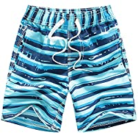 Coralup Boys Swim Shorts Swimming Trunks Casual Beach Holiday Board Swimwear Kids Sky Blue 7-8Y