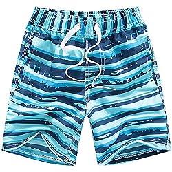 Coralup Pantalones Cortos de Playa para niños con Cintura Ajustable, Secado rápido, Transpirables, Ligeros, para niños de 2 a 14 años Azul Azul Celeste 9-10 Años