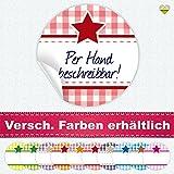 cute-head 24 Aufkleber/Etiketten / Sticker | Landhausstil Kariert Stern | Rund | Ø 40 mm | Blanko | Hellrot/Rot | F00102-06