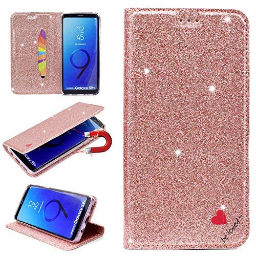 Artfeel Flip Brieftasche Hülle für Samsung Galaxy S9 Plus,Samsung Galaxy S9 Plus Bling Glitzer Leder Handyhülle mit Kartenfach,Liebe Herz Muster mit Ständer Magnetisch Schutzhülle-RoséGold - Liebe Kupplung Brieftasche