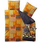 Bettwäsche 200x200 Baumwolle, Trend Adia Karo-Muster grau orange grün Wendedesign aqua-textil 0011811