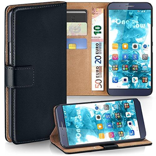 moex Huawei ShotX | Hülle Schwarz mit Karten-Fach 360° Book Klapp-Hülle Handytasche Kunst-Leder Handyhülle für Huawei ShotX/Honor 7i Case Flip Cover Schutzhülle Tasche