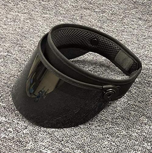 POIUIU Visier Summer Unisex Clear Plastic Top HatSonnenblende Maske Hut Sonnenbrille Strandkappen Uv-Schutz Schwarz