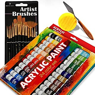 Complete Acrylic Paint Set - 24х Rich Pigment Colors - 15x Art Brushes with Bonus Paint Art Knife & Sponge - for Painting Canvas, Clay, Ceramic & Crafts, Non-Toxic & Quick Dry - for Kids & Adults