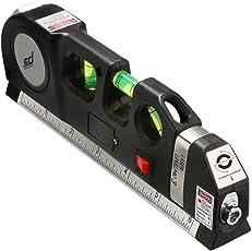Smiledrive Plastic Pro Laser Beam Levelling Device with Bubble Indicator Measuring Tape (19x6x3cm, Black)