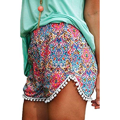 Falte Pocket Mini Rock (Hosen Damen Kolylong Frau Sommer Hot Pants Hohe Taille Verlieren Kurze Hose (L))