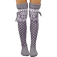 OMMR Calze autoreggenti da donna di Natale, calze sopra il ginocchio lavorate a maglia da donna, calze calde da donna