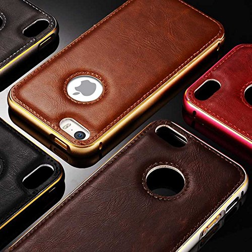 achievess (TM) en cuir PU pour Apple iPhone 5Coque en aluminium pour iPhone 5s fundas Coque arrière rigide pour Business Style cas