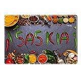 Tischset mit Namen ''Saskia'' Motiv Chili - Tischunterlage, Platzset, Platzdeckchen, Platzunterlage, Namenstischset