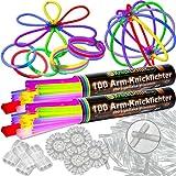 Pulseras fluorescentes, 200 unidades, 7 colores, con accesorios
