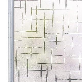 Homein Milchglasfolie Fensterfolie Milchglas Duschkabinen Blickdicht Folie Fenster Selbstklebend Sichtschutzfolie Sichtschutz Statisch Haftend für Glastüren Bad Badfenster Sterne Kreuz 44.5 x 200 cm