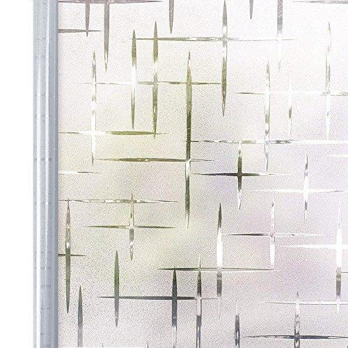 Homein Vinilo Ventana Electroestatico Vinilos Cristales para Privacidad Película Adhesiva Deslustrado Sin Pegamento Facíl Desmontar y Reutilizar Motivo Cruz de Baño Cocina Oficina Anti UV 90 * 200cm