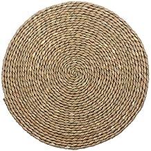 Wellhouse madera redondo trenzado alfombra Natural hecho a mano pajita trenzado manteles individuales aislamiento antideslizante Pad reutilizables, madera, Miao grass-1, 15.7Inch
