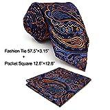 Shlax & Wing corbata extra larga para hombre Paisley corbata de seda naranja azul clásico para...