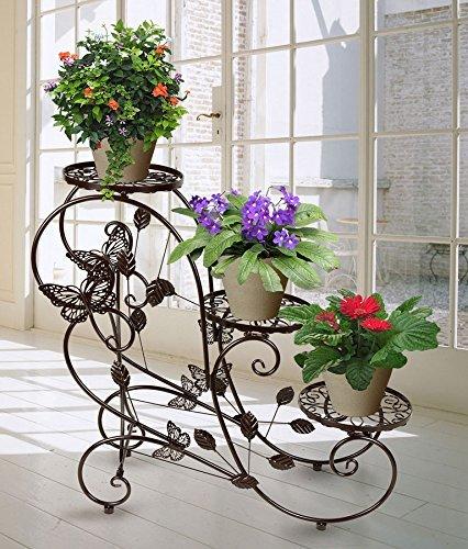 Hahaha ah portavasi in ferro da interno e per giardino esterno scaletta portafiori fioriera decorativa, per 3 vasi, 75 x 66 x 28cm marrone