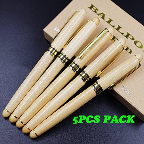 Preisvergleich Produktbild Holz Eco Kugelschreiber Holz Kugelschreiber Kugelschreiber mit Gold Zubehör - Palisander Kugelschreiber in Holz Geschenkbox (Weiße hölzerne Gel Tintenstift mit Papierkiste)