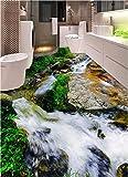 Weaeo 3D Pvc Bodenbelag Benutzerdefinierte Selbstadhäsion 3D River Stein Streams 3D Badezimmerboden Malerei Fototapete Für Wände 3D-120X100Cm