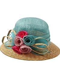 Cappello ZHIRONG Paglia di Fiori di Paglia Spiaggia da Donna Outdoor  Protezione da Sole Estivo Casual Donna Beige Blu Visiera Anti-UV… e01a7e70c052