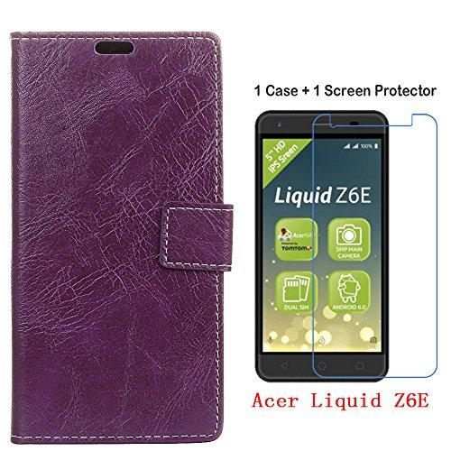 COVO® Acer Liquid Z6E Hülle+Glass Screen Protector,Brieftasche Hülle PU+TPU Kunstleder Handyfall für Acer Liquid Z6E Hülle mit Stand Funktion EIN Stent-Funktion (Lila)