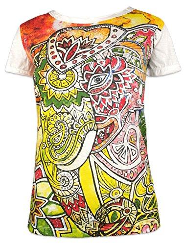 Mirror Camiseta Mujer Elefante Psicodélico - Talla S M L Mariposa Espíritu Hinduismo Budismo Yoga Ganesha