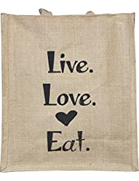 No Doubt LOVE LIVE EAT LUNCH BAG Printed Jute Bag,specially Design To Carry Lunch (Lunch Bag,Medium Size, Height...