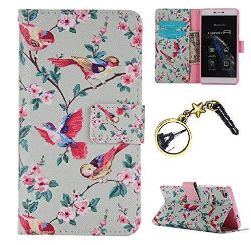 Preisvergleich Produktbild Silikon Schutz hülle für Huawei P8 Soft PU Handyhülle Painted Pattern Hülle Handy Case Dünne Tasche Cover Schutzhülle Schale Tasche Lederhülle mit (+Eiffelturm Staubstecker )#BM (8)
