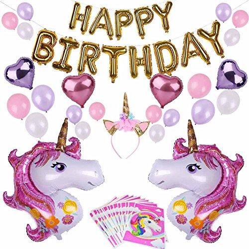 Kingmia Black Friday, Einhorn Happy Birthday Balloons Happy Birthday Kinder Party Dekoration Baby Shower Dekorationen Party Supplies 27 Stück(Pink)